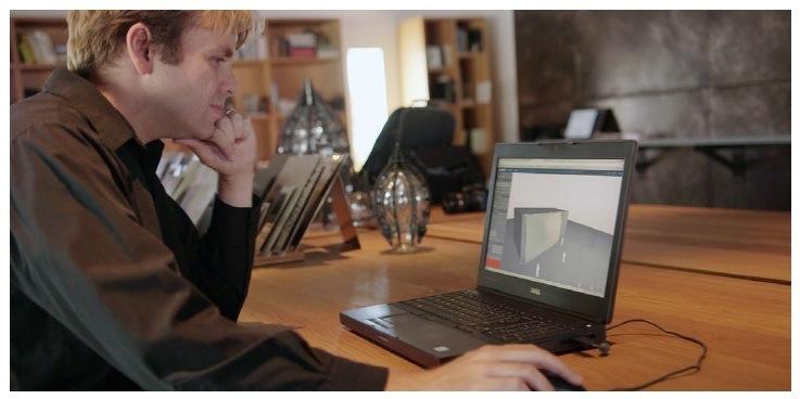 Zahner ShopFloor Engineer Craig Long demonstrates one of the ShopFloor design to