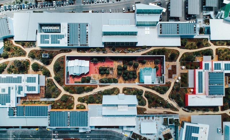 Aerial view of MPK 21 green roof