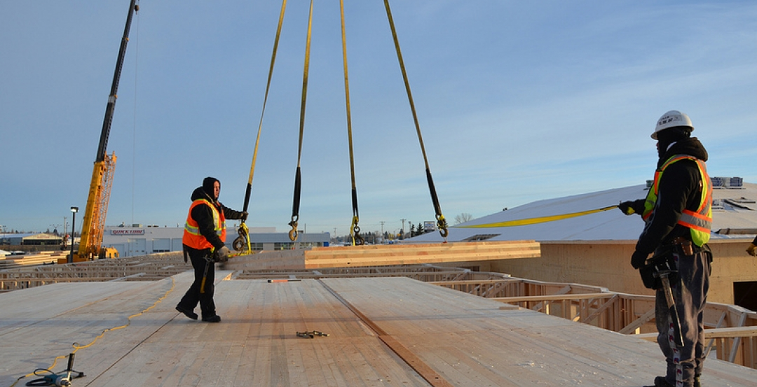 Builders use cross-laminated timber
