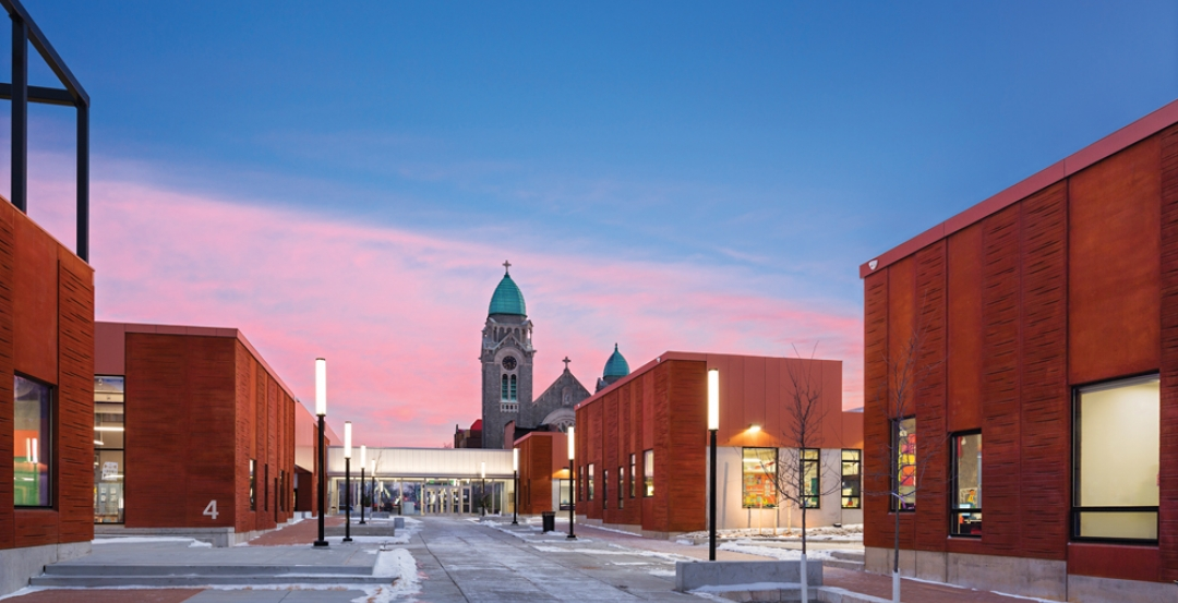 Low-rise structures and pedestrian streets characterize the new Henderson-Hopkin