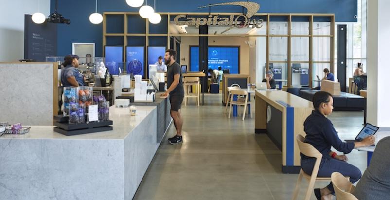 The cafe space in the Capital One Cafe