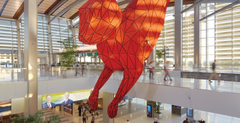 Leap, by artist Lawrence Argent, at Sacramento International Airport. A key co