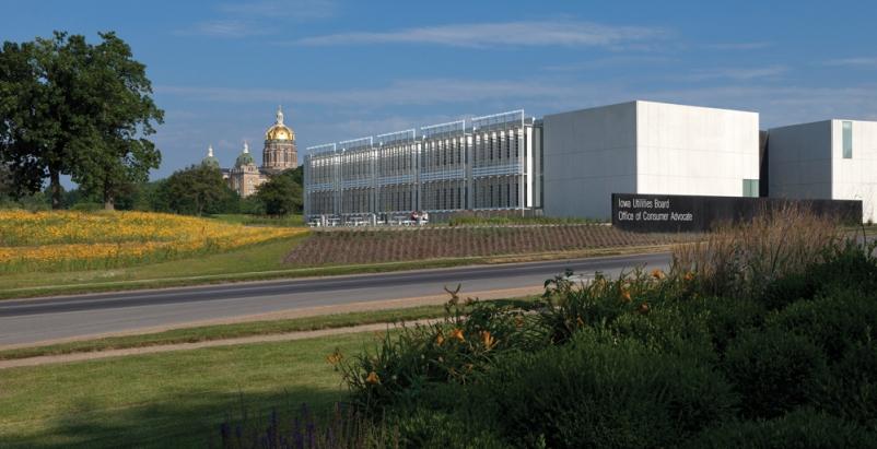 The Iowa Utilities Board/Office of Consumer Advocate building, in Des Moines, ea