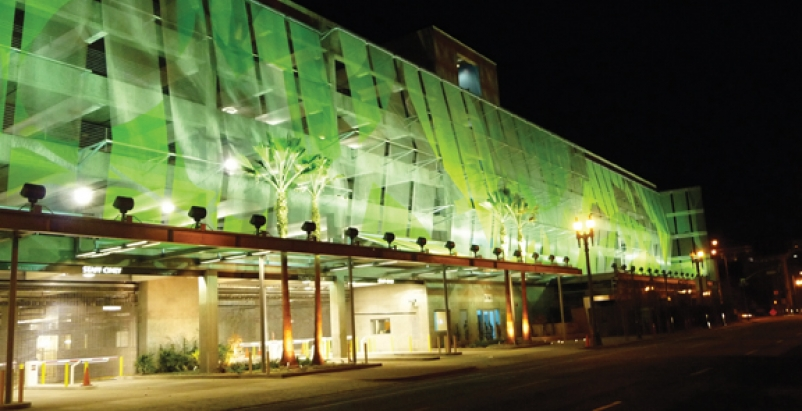 Wire Mesh Protects And Serves Lapd Parking Garage Building Design