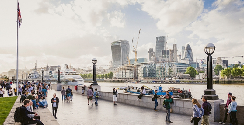 A newly developed waterfront space in London