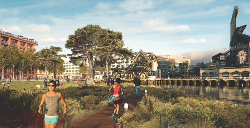 People running through a mixed-use waterfront community in San Francisco