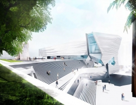 View of the outdoor grand stair joining the museum to Argyros Plaza