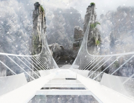 Construction of record breaking glass-bottom bridge nearly complete in China