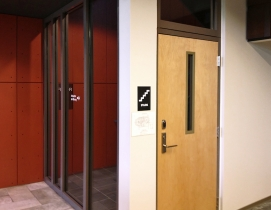 Fire protective glazing used in a door vision panel in 60-90 minute exit stairway