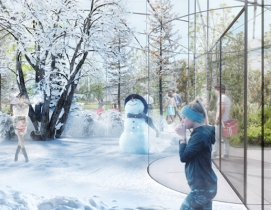 Inside the winter pavilion in Carlo Ratti's Garden of the Four Seasons