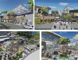 A collage of four renderings showing the new Howard Hughes Center from Laurus Corporation and the Jerde Partnership