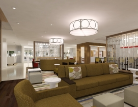 The new prototype's open, social lobby space was designed to create a comfortabl
