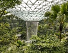 The Rain Vortex indoor waterfall in the Jewel