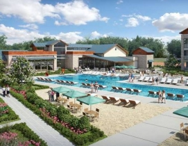 Lakeyard District's infinity pool and outdoor amenity space