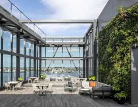 Rooftop deck of the 13-story, LEED Gold Pier 4 office building in Boston's Seaport district, designed by Elkus Manfredi Architects,. Photo: Magda Biernat Photography