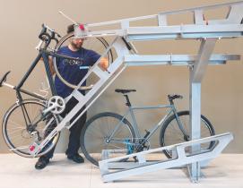 The Dero Decker two-tiered bike parking system