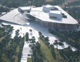 Aerial view of shanghai grand opera house