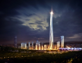 Shenzhen-Hong Kong International Center lit up at night