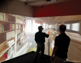 A user navigates a virtual reality model of a proposed commercial office at DPR