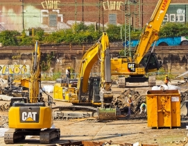Machinery and workers on a construction site