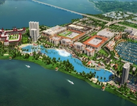 A man-made lagoon with a Bellagio-like fountain will be the highlight of a mixed-use project outside Dallas