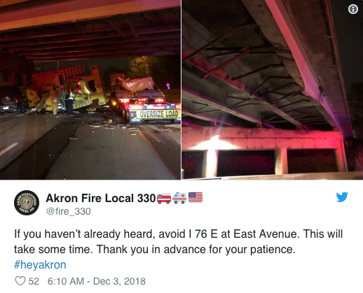 Akron Fire Department Tweet.