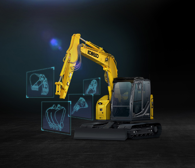 Kobelco SR Series excavators have an attachment selection system.