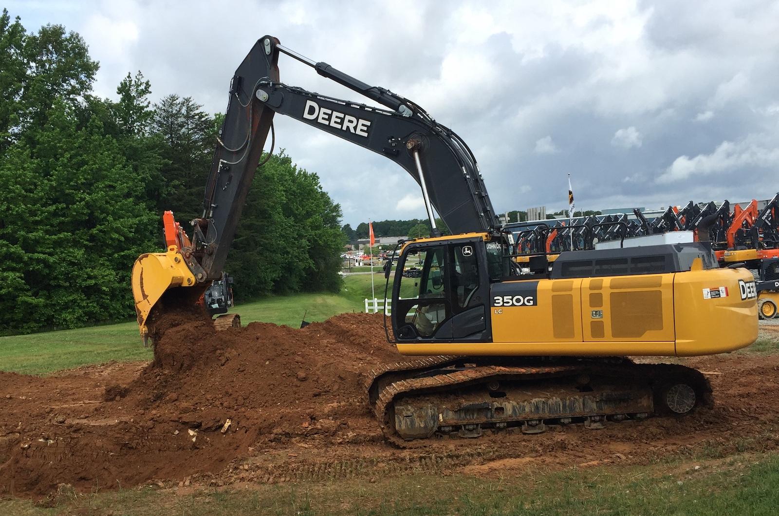 Deere demonstrated grade guidance on the 350G excavator