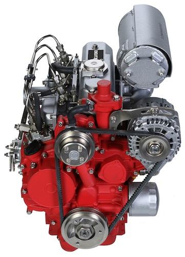 Red and gray Deutz engine.
