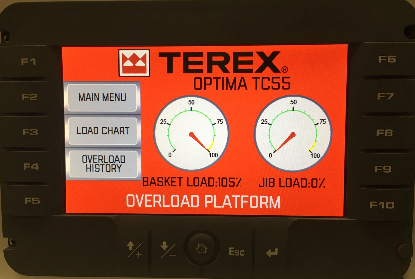 Terex has updated the monitor display for the Terex Load Alert system.