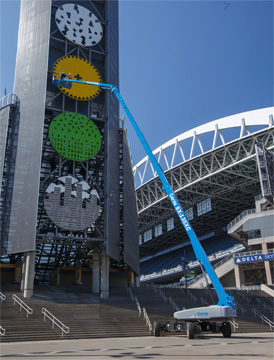 Genie lift works at the Mariners Stadium in Seattle