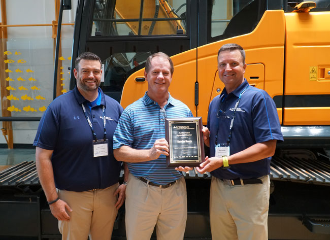 Left to Right: Chad Parker, Sr. Product Specialist; Rick Cloninger, Border Rents Branch Manager; Shaun Galligan, HCEA District Manager-Southeast