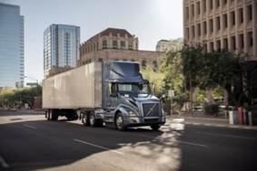 """The Volvo VNL 300 daycab is now available with the latest version of the Cummins ISX12N """"Near Zero"""" natural gas engine."""