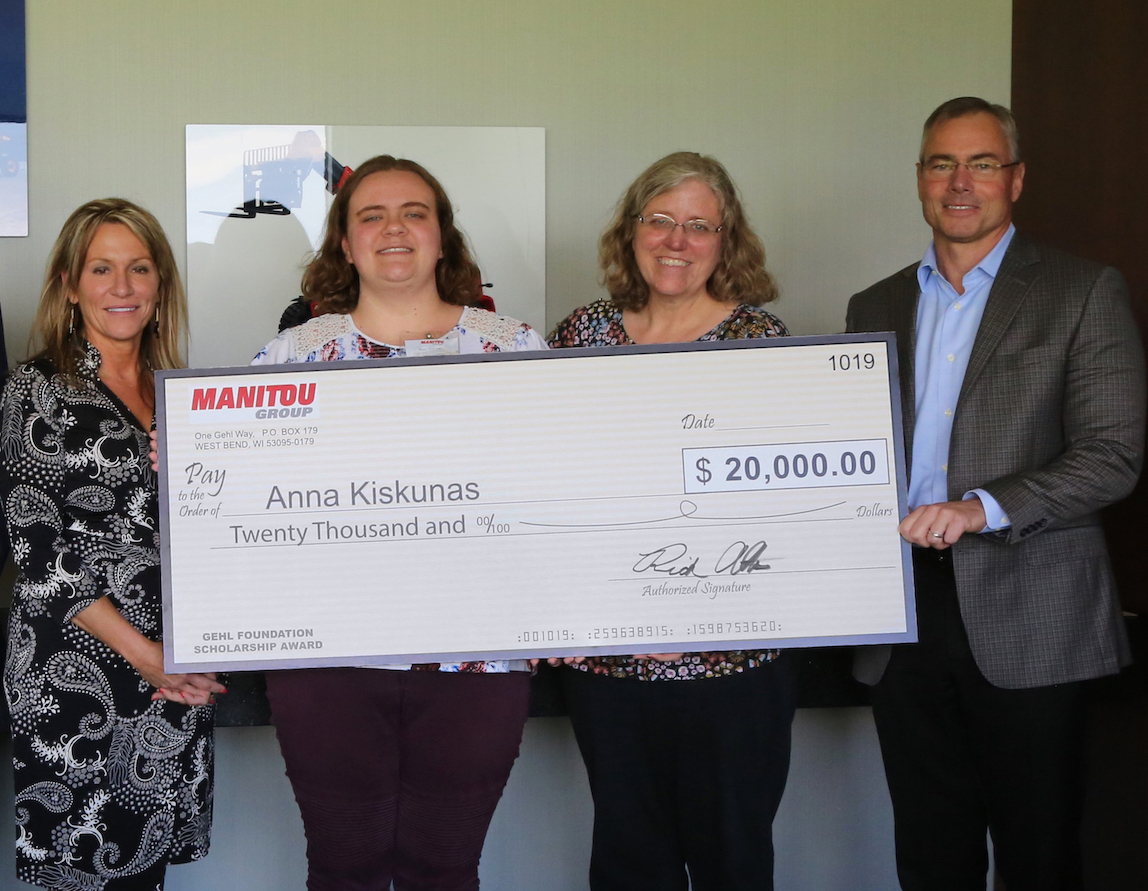 A $20,000 collegiate scholarship was awarded to Anna Kiskunas, daughter of Manitou Group employee Steve Kiskunas.