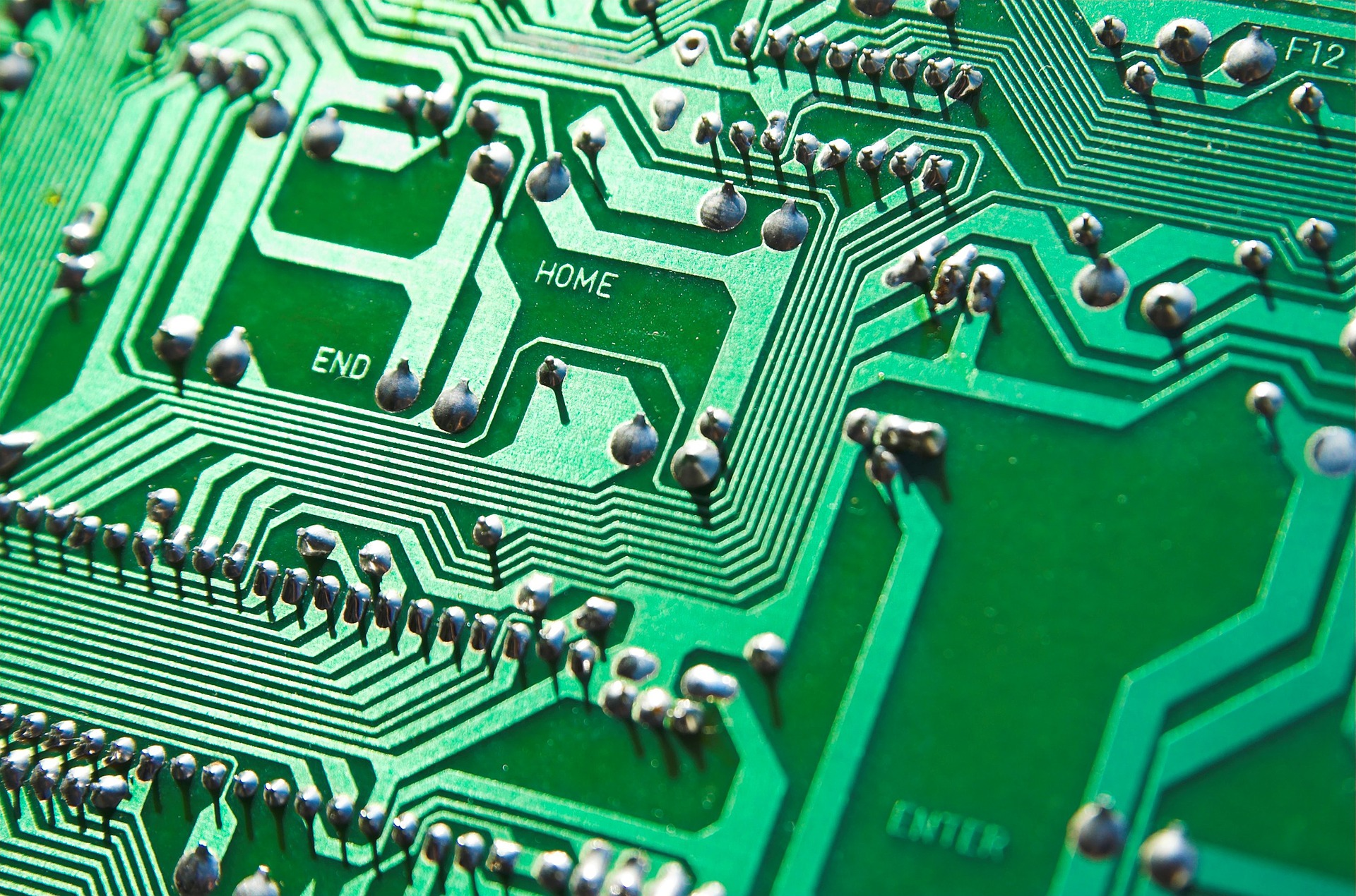Closeup of the details on a motherboard chip.