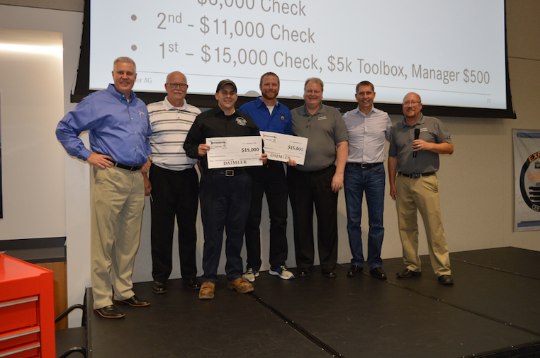 The first place winners were Travis Gannon of Lonestar Truck Group in Waco, Texas in the Vehicle Competition, and Terry Podralski of W.W. Williams Midwest LLC, in Akron, Ohio in the Engine Competition
