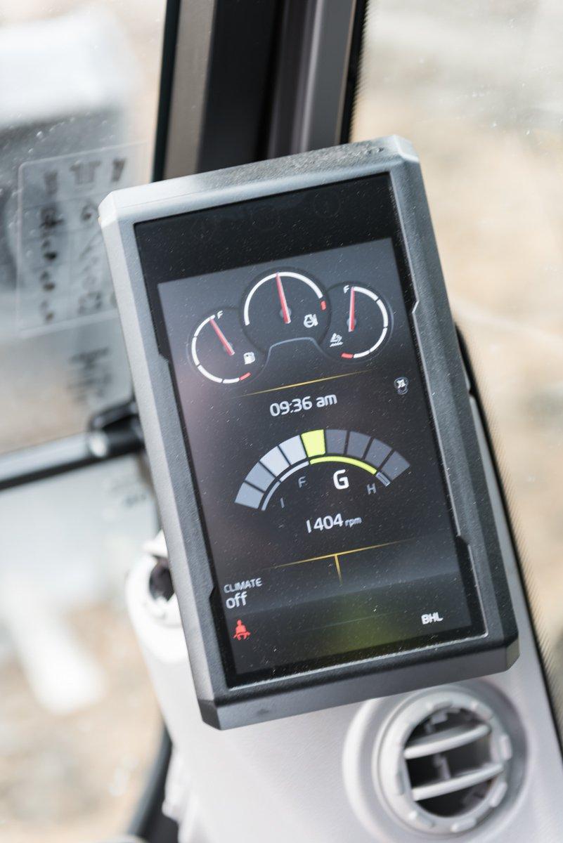 The monitor indicates the EC220E's nine work modes