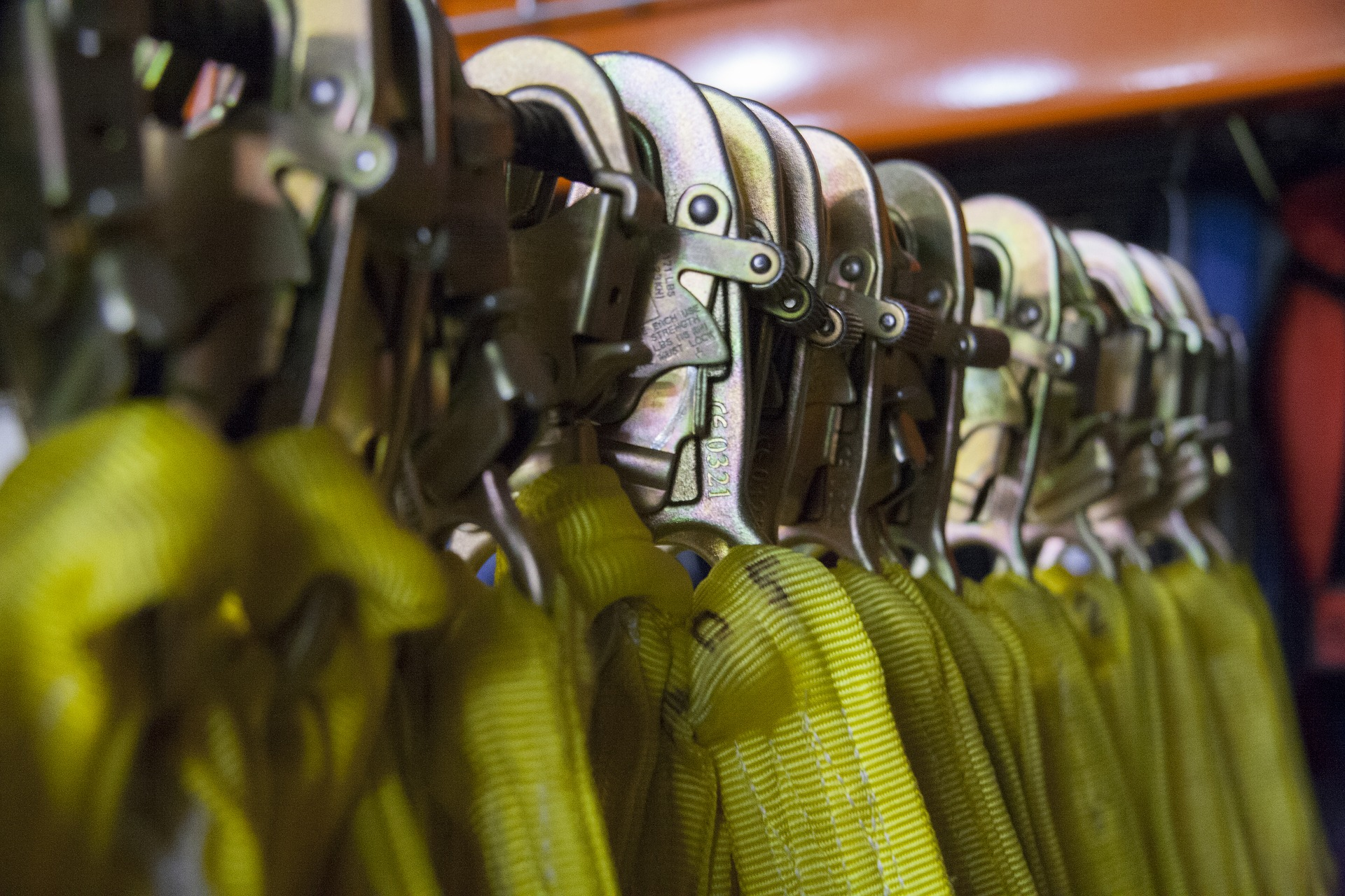 Safety hook PPE lined up.