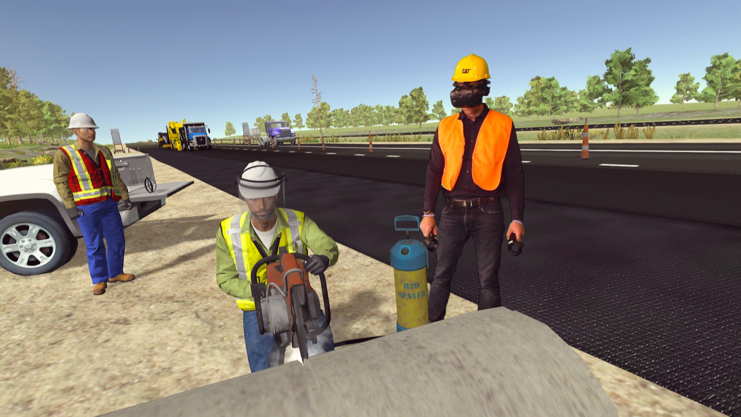 Screen capture of the new Caterpillar VR training program.