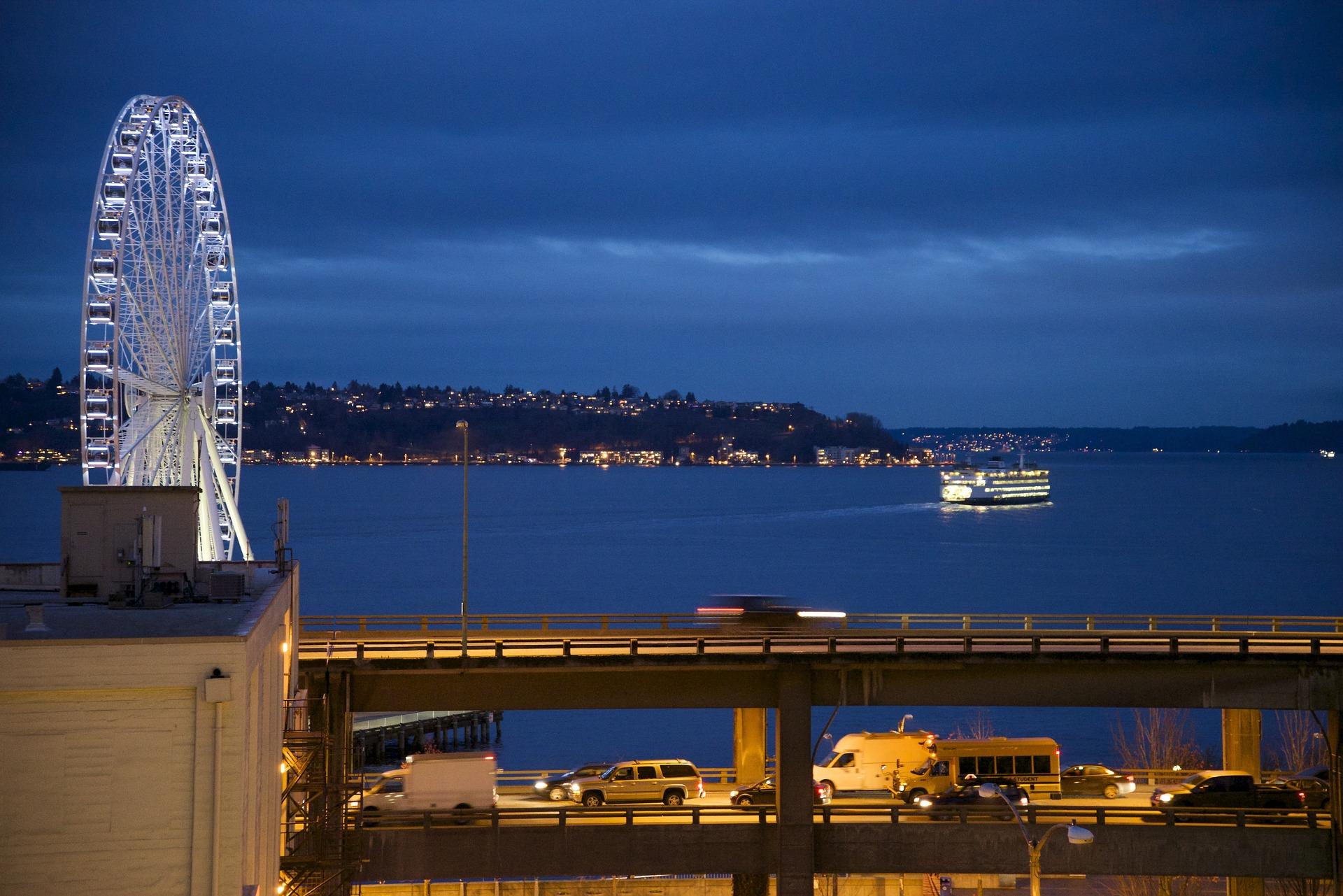 Seattle's Alaskan Way Viaduct at night.