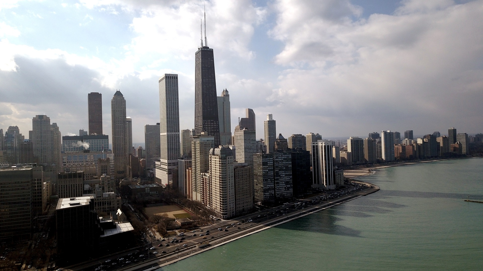 Chicago skyline with Lake Shore Drive visible.