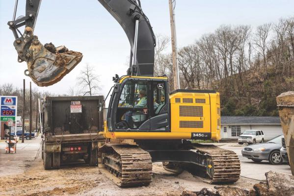 John Deere 345G is a reduced-tail-swing excavator