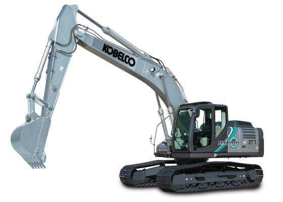 Kobelco SK210HLC-10 Hybrid use a lithium-ion battery to store energy generated by an electric swing motor during swing deceleration