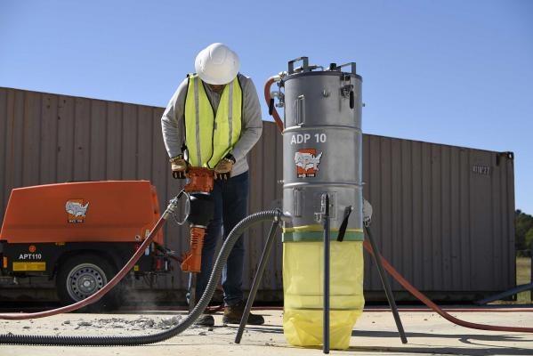 APT ADP 10 dust collection system is designed to help protect workers from crystalline silica