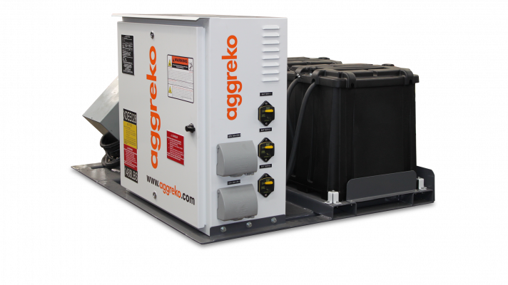 The alternating fuel-to-battery Hybrid Power System 3K allows onsite generators to switch from their daily high-load power capacity demand to a battery source when lower power requirements are needed to keep job site lights, security systems, and computers running.