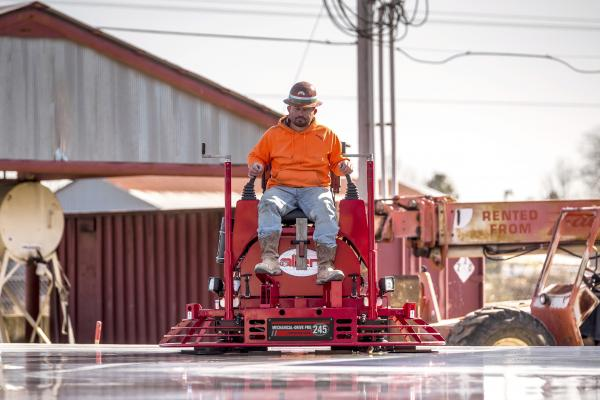 Allen MP245 riding power trowel is the company's most compact, hydraulic-power-steering unit, designed to incorporate the ergonomic features of its larger counterparts.