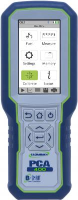 Bacharach PCA 400 portable combustion and emissions analyzer is designed for commercial and industrial applications such as engines, generators, and boilers, providing efficiency measurements and combustion emissions data during the fuel burning process.