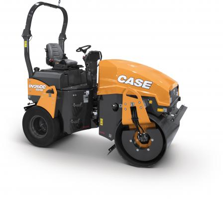 Case DV23CC and DV26CC combination rollers use a front-mounted vibratory drum and rear-mounted pneumatic tires.