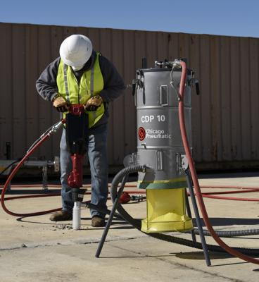 Chicago Pneumatics CDP 10 dust collection system is designed to help protect workers from crystalline silica