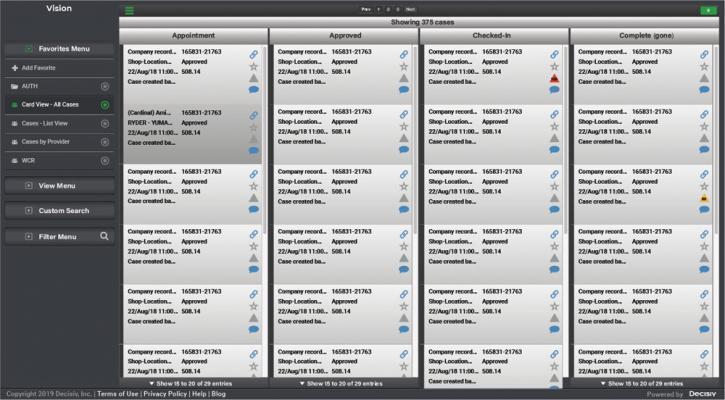Screen shot shows the Decisiv app.